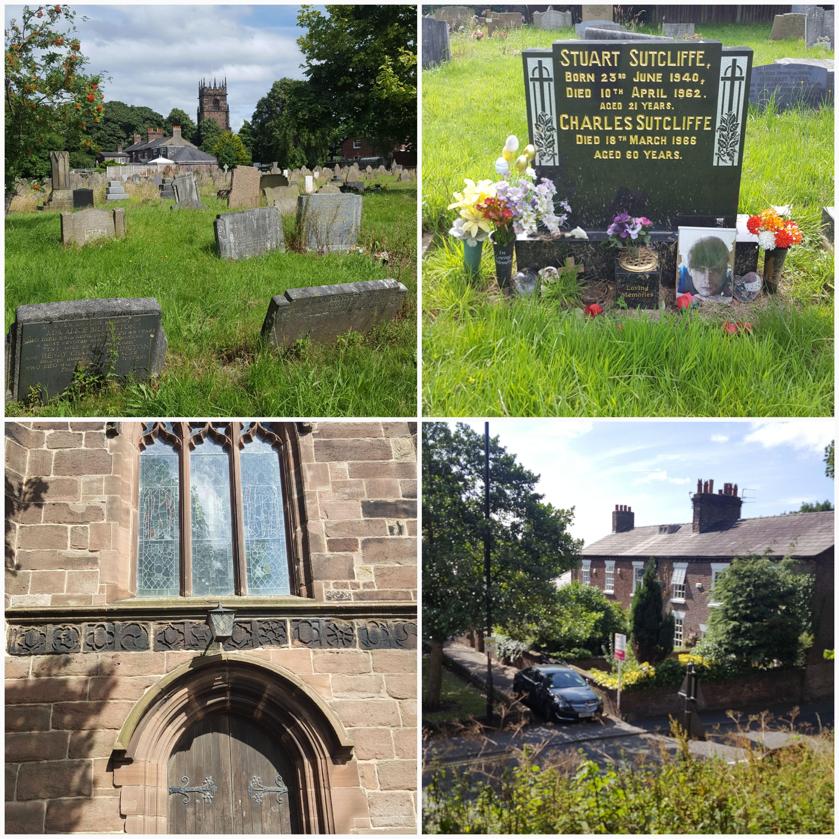 From top right: St Michaels Church Graveyard, Grave of Stuart Sutcliff, St Michaels Church Doorway, Derby Terrace