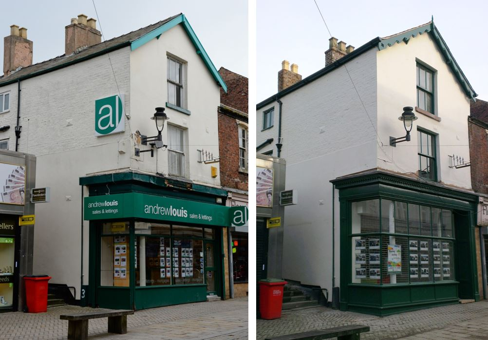 Andrew Louis - A semi-restoration with original details uncovered beneath the modern shopfront.