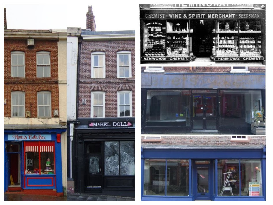 11 Market Place, before and after and 44 Eccleston Street in 1903 when it was a chemist, then empty after being vacated by Poundbakery and last year just as the final touches were being put to the frontage.