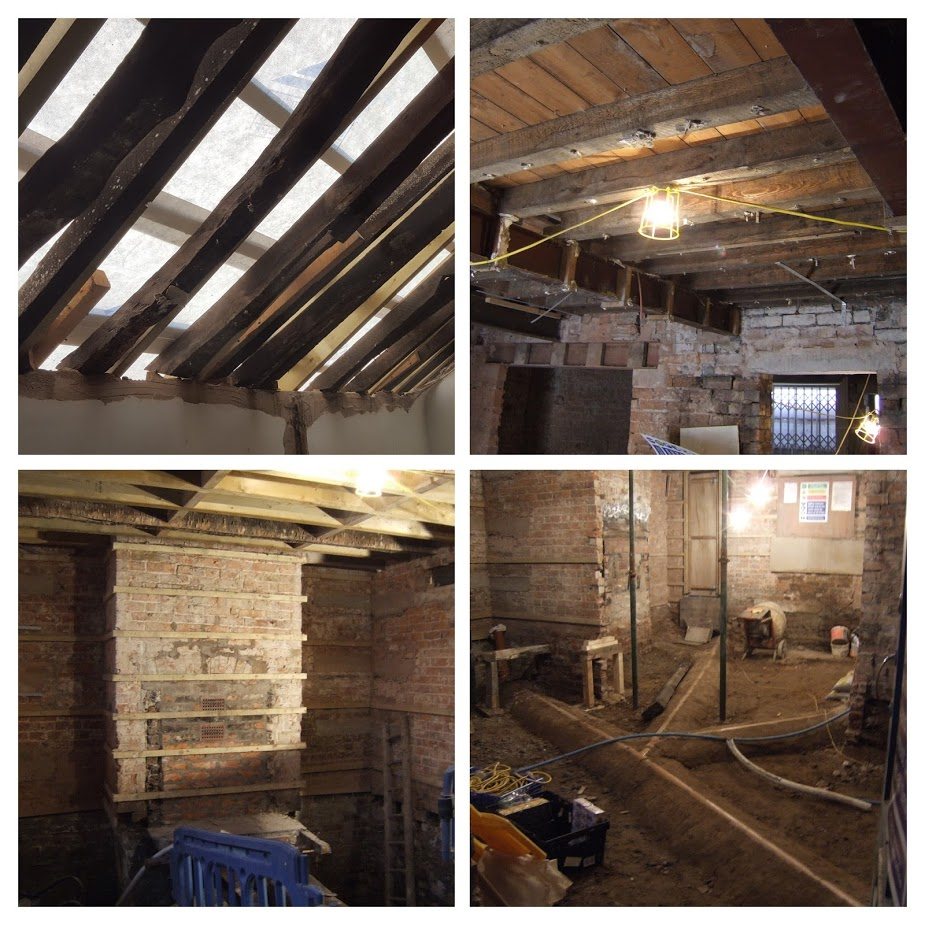Late 18th Century rafters conserved beneath a modern roof-frame.  Exposed tie-beams with modern floors, walls and floors taken back and prepared to be limecreted.