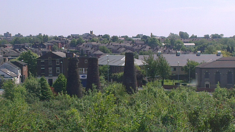 'Bottle ovens' at cleared pottery factory, Burslem