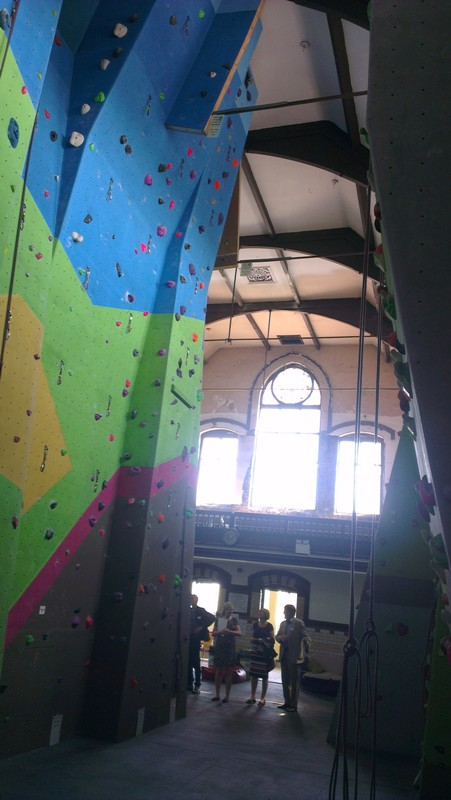 Climbing wall inside a former church, Burslem