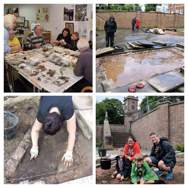 Cleaning the artefacts uncovered by the dig, a disconsolate archaeolgist suffers through Prescots weather, the wall lines of a Victorian building emerge from the trench, a local family getting involved in the archaeology