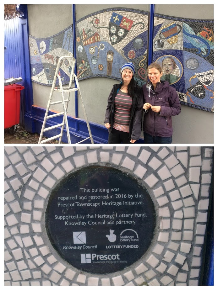 Bernadette Hughes and Susan Whittle artists and their completed mosaic.