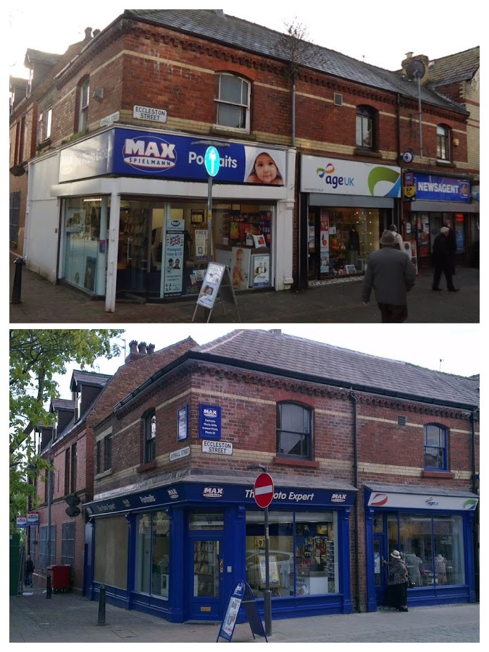 New shop frontages brighten up the street and enhance the quality of the Victorian brickwork above.